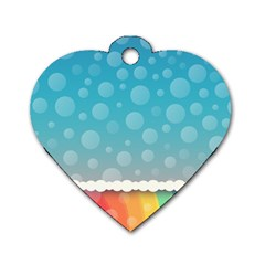 Rainbow Background Border Colorful Dog Tag Heart (One Side)