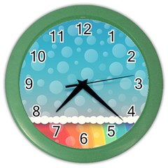 Rainbow Background Border Colorful Color Wall Clocks