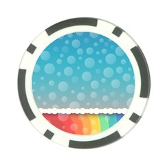 Rainbow Background Border Colorful Poker Chip Card Guard