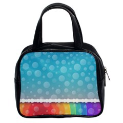 Rainbow Background Border Colorful Classic Handbags (2 Sides)