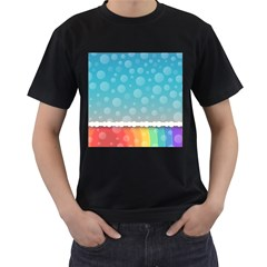Rainbow Background Border Colorful Men s T Shirt (black)