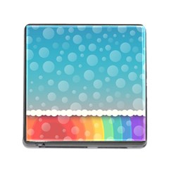 Rainbow Background Border Colorful Memory Card Reader (square)
