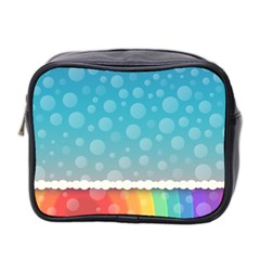 Rainbow Background Border Colorful Mini Toiletries Bag 2 Side