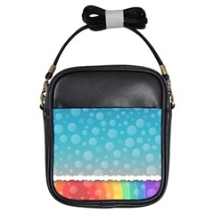Rainbow Background Border Colorful Girls Sling Bags