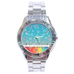 Rainbow Background Border Colorful Stainless Steel Analogue Watch