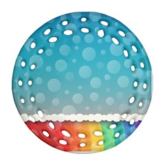 Rainbow Background Border Colorful Round Filigree Ornament (Two Sides)