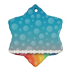 Rainbow Background Border Colorful Snowflake Ornament (two Sides)