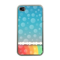 Rainbow Background Border Colorful Apple Iphone 4 Case (clear)
