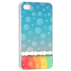 Rainbow Background Border Colorful Apple iPhone 4/4s Seamless Case (White)