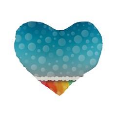 Rainbow Background Border Colorful Standard 16  Premium Heart Shape Cushions