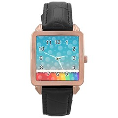Rainbow Background Border Colorful Rose Gold Leather Watch
