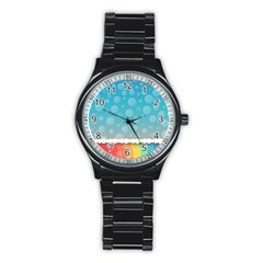 Rainbow Background Border Colorful Stainless Steel Round Watch