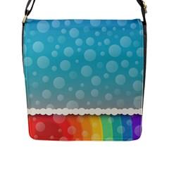 Rainbow Background Border Colorful Flap Messenger Bag (l)