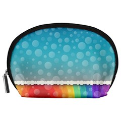 Rainbow Background Border Colorful Accessory Pouches (large)