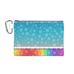 Rainbow Background Border Colorful Canvas Cosmetic Bag (m)