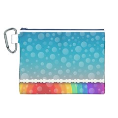 Rainbow Background Border Colorful Canvas Cosmetic Bag (l)