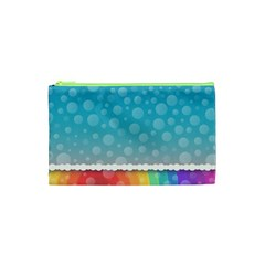 Rainbow Background Border Colorful Cosmetic Bag (XS)