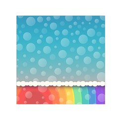 Rainbow Background Border Colorful Small Satin Scarf (square)