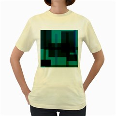 Boxes Abstractly Women s Yellow T Shirt