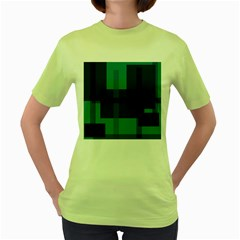 Boxes Abstractly Women s Green T Shirt