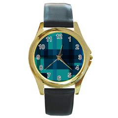 Boxes Abstractly Round Gold Metal Watch