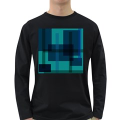 Boxes Abstractly Long Sleeve Dark T Shirts