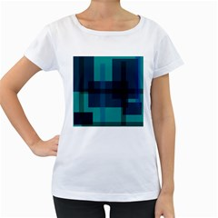 Boxes Abstractly Women s Loose-Fit T-Shirt (White)