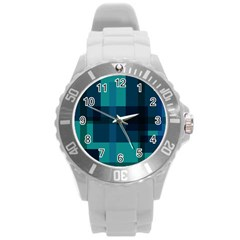 Boxes Abstractly Round Plastic Sport Watch (L)