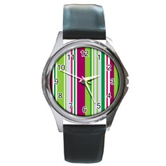 Beautiful Multi Colored Bright Stripes Pattern Wallpaper Background Round Metal Watch