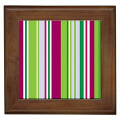 Beautiful Multi Colored Bright Stripes Pattern Wallpaper Background Framed Tiles