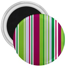 Beautiful Multi Colored Bright Stripes Pattern Wallpaper Background 3  Magnets