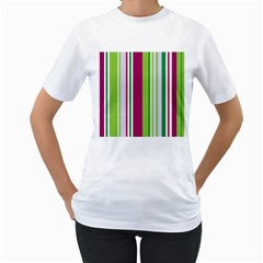 Beautiful Multi Colored Bright Stripes Pattern Wallpaper Background Women s T Shirt (white) (two Sided)