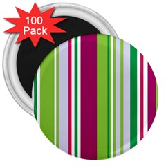 Beautiful Multi Colored Bright Stripes Pattern Wallpaper Background 3  Magnets (100 pack)