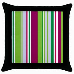 Beautiful Multi Colored Bright Stripes Pattern Wallpaper Background Throw Pillow Case (black)