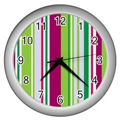 Beautiful Multi Colored Bright Stripes Pattern Wallpaper Background Wall Clocks (silver)