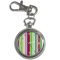 Beautiful Multi Colored Bright Stripes Pattern Wallpaper Background Key Chain Watches