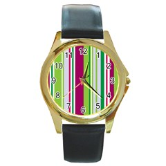 Beautiful Multi Colored Bright Stripes Pattern Wallpaper Background Round Gold Metal Watch