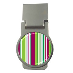 Beautiful Multi Colored Bright Stripes Pattern Wallpaper Background Money Clips (round)