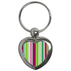 Beautiful Multi Colored Bright Stripes Pattern Wallpaper Background Key Chains (heart)