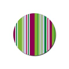 Beautiful Multi Colored Bright Stripes Pattern Wallpaper Background Rubber Round Coaster (4 Pack)