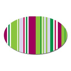 Beautiful Multi Colored Bright Stripes Pattern Wallpaper Background Oval Magnet