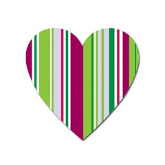 Beautiful Multi Colored Bright Stripes Pattern Wallpaper Background Heart Magnet