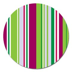 Beautiful Multi Colored Bright Stripes Pattern Wallpaper Background Magnet 5  (round)
