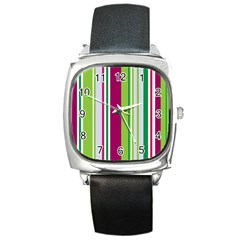Beautiful Multi Colored Bright Stripes Pattern Wallpaper Background Square Metal Watch
