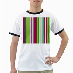 Beautiful Multi Colored Bright Stripes Pattern Wallpaper Background Ringer T Shirts