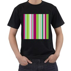Beautiful Multi Colored Bright Stripes Pattern Wallpaper Background Men s T Shirt (black) (two Sided)