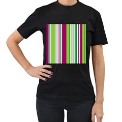 Beautiful Multi Colored Bright Stripes Pattern Wallpaper Background Women s T Shirt (black) (two Sided)
