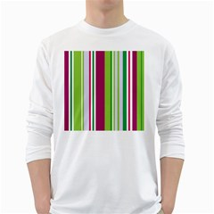 Beautiful Multi Colored Bright Stripes Pattern Wallpaper Background White Long Sleeve T-Shirts