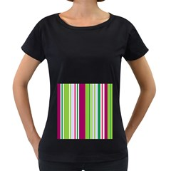 Beautiful Multi Colored Bright Stripes Pattern Wallpaper Background Women s Loose-Fit T-Shirt (Black)