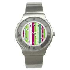Beautiful Multi Colored Bright Stripes Pattern Wallpaper Background Stainless Steel Watch
